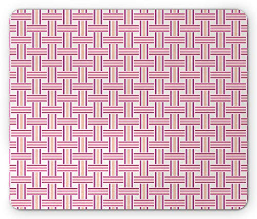 WYICPLO Geometric Mouse Pad, Crossed Stripes Bold Lines Bands Lattice Mesh Like Pattern Classical, Standard Size Rectangle Non-Slip Rubber Mousepad, Pink Magenta Peach -