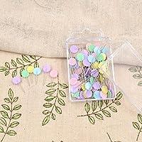 SODIAL 100 unids / bolsa pines colores mezclados coser patchwork pines cabeza de la flor pines herramienta de costura aguja accesorios de costura de arte flor del ciruelo