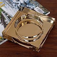 GaoHX Square crystal ashtray KTV living room bar gold glass ashtray ( Color : Gold , Size : M )
