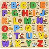 WISHKEY 3D Wooden Capital Alphabet Puzzles with Pictures for Children, Montessori Educational Learning Letters Puzzle…