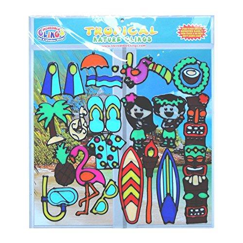 opischen Gel klammert sich für Kinder und Erwachsene (21 teiliges Set) - Surfbrett, Ananas, Hawaii, Polynesien, Hula, Flamingo (Hawaii-totem Pole)