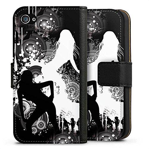 Apple iPhone X Silikon Hülle Case Schutzhülle Kreise Silhouette Frau Sideflip Tasche schwarz