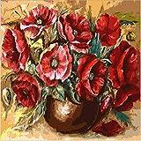 wwdfdd Pintura por números Sin Marco Flor roja DIY Dibujo A Mano Lienzo para Colorear Pintura por Números para Adultos Niño Dormitorio Arte de la Pared 40X50CM