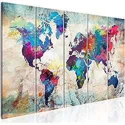 murando Cuadro 200x80 cm - Mapamundi - Impresion en calidad fotografica - Cuadro en lienzo tejido-no tejido - Mapa del Mundo Continente k-A-0179-b-n