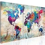 murando Cuadro Mapamundi 200x80 cm impresión de 5 Piezas - Material Tejido no Tejido - impresión artística - Imagen gráfica - Decoracion de Pared - Mapa del Mundo Continente k-A-0179-b-n