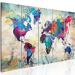 Idea Regalo - murando Quadro 200x80 cm Mappamondo Stampa su Tela in TNT XXL Immagini Moderni Murale Fotografia Grafica Decorazione da Parete Mapa del Mundo Continente k-A-0179-b-n