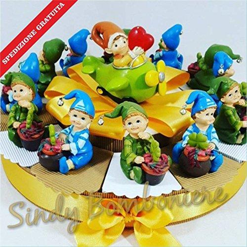 Bomboniere per nascita compleanno gnomo folletto bimbo spedizione inclusa battesimo (torta da 28 fette)