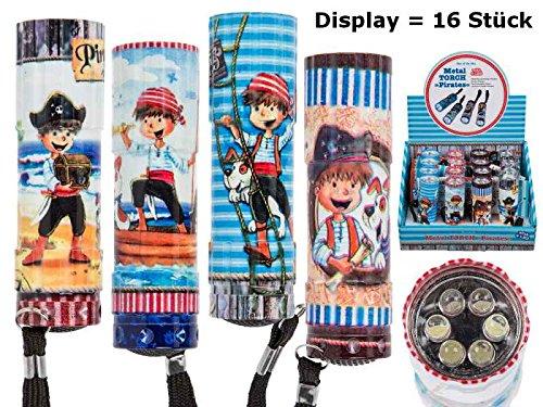 16er Set LED Kinder Taschenlampe Piraten (6 LED) 8,5 cm - Jungen, Give Away, Mitgebsel Kindergeburts