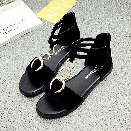RUGAI-UE Estate sandali rotondo di metallo fibbia Calzature Donna semplice studente Black