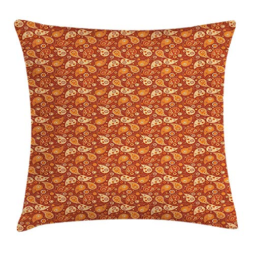 K0k2t0 Orange Throw Pillow Cushion Cover, Retro Style Pattern with Paisley and Flowers Stylized Ornate Leave Figures, Decorative Square Accent Pillow Case, 18 X 18 inches, Redwood Orange Cream - Orange Flower Body Cream