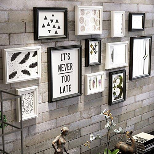 Photo Wall ALUK- Satz von 12 Collage Frames, Bilderrahmen für Wand massivem Holz Modern Style Home Dekoration Kombination hängenden Wand/einschließlich Bilder (Farbe : Schwarz+Weiss) (Weiß-bett-satz Und Schwarz)