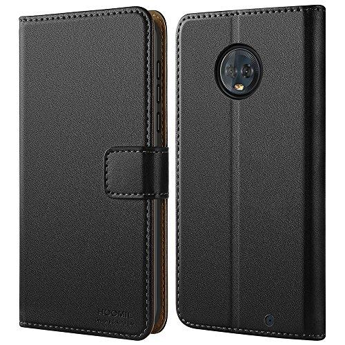 HOOMIL Motorola Moto G6 Plus Hülle Leder Flip Case Handyhülle für Moto G6 Plus Tasche Brieftasche Schutzhülle - Schwarz (H3287)