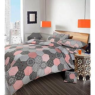 Ashley Mills Bettwäsche-Set für Einzelbett, mit Kissenbezug, Polyester/Baumwolle Grey Oracle