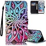 iPhone 6S étui, iPhone 6 Étui Portefeuille, Aeeque Fleur coeur Coloré Dessin avec Fermeture Magnétique Pliable en Cuir PU Style de Livre Holster pour Apple iPhone 6 / 6S 4.7 pouce