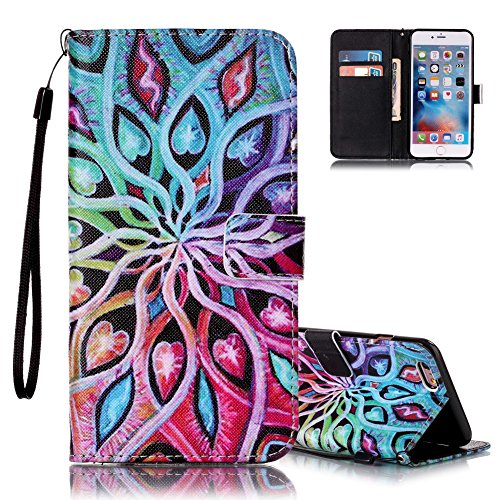 Aeeque iPhone 6S étui, iPhone 6 Étui Portefeuille, Fleur Coeur Coloré Dessin avec Fermeture Magnétique Pliable en Cuir PU Style de Livre Holster pour iPhone 6 / 6S 4.7 Pouce