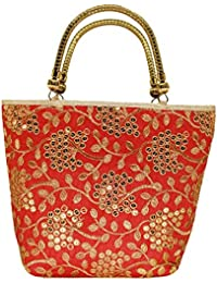 Bagaholics Ethnic Silk Clutches Hand Held Bag With Embroidery Work Handbag Wedding Bag Clutches Ladies Purse Gift...
