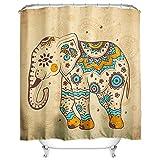HROOME Wasserdichter Duschvorhänge Anti Schimmel 180x180cm Bunter Elefantdruck Badezimmer Duschvorhang Set Mit 12 Haken 150X180cm (180*200CM, Elephant-4)