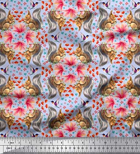 Soimoi Blau Baumwoll-Popeline Stoff floral, Kolibri & Eichhörnchen Tier Stoff Meterware 42 Zoll breit - Kolibri-stoff