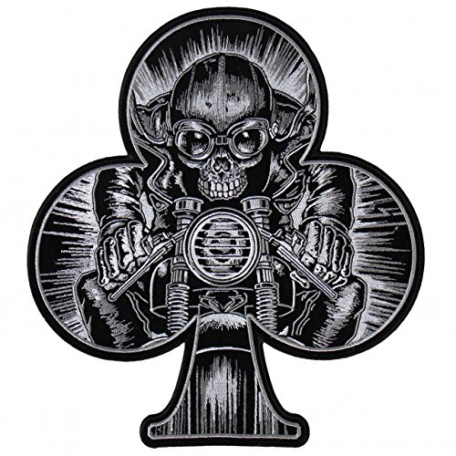 Patch embroidered Premium Stick Cafe Racer Skull Racer Backpatch and Support Patch (Support Patch klein) (Premium Racer Racer)