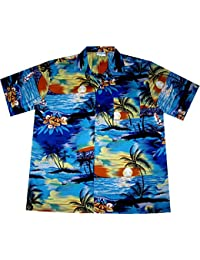 """Chemise Hawaienne Homme """"Day on Hawaii"""" 100% coton, taille M – 3XL, bleu"""