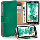 moex Samsung Galaxy S3 | Hülle Dunkel-Grün mit Karten-Fach 360° Book Klapp-Hülle Handytasche Kunst-Leder Handyhülle für Samsung Galaxy S3 / S III Neo Case Flip Cover Schutzhülle Tasche