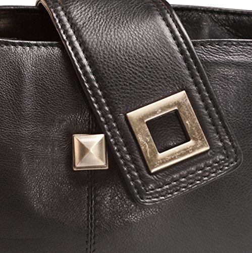 Brunhide Borsetta morbida design da donna in vera pelle con fibbia # 114-300 Nero