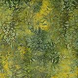 Fabric Freedom Rost, Grün, Design zu 100% Baumwolle, Batik Bali gebatikt aus Stoff für Patchwork- und Quilt- und Bastelarbeiten (Preis pro Viertel-Meter)