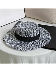 La mujer plana ocio diario de ala ancha doseles plana Playa Sol sombrero de paja formal, blanco