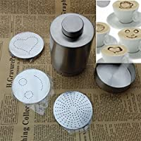 GENERIC Cappuccino Latte Art Tool Cocoa Powder Dispenser Tank w/Mould Chocolate Shaker Duster + Cappuccino Coffee Barista stencils set