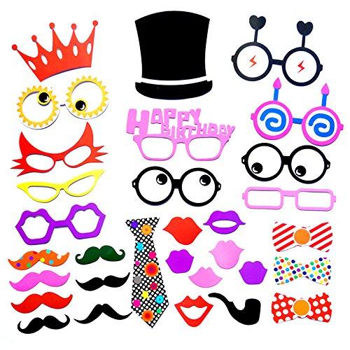 31PCS Funny Foto Party Booth DIY Kit für Hochzeit, Geburtstag, evetns & Funktionen von Schnitt Shop (Walmart Halloween Masken)