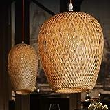 GUANSHAN Ręcznie tkana lampa sufitowa z naturalnego drewna bambusowego w stylu pastoralnym lampa sufitowa żyrandol do baru, k