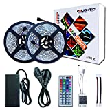 RoLightic RGB Led Light Strip Kit,10M 5050 300LEDs,DC 12V Waterproof Led Strip Lights with 44Key Remote Controller and Power Adapter for Home,Kitchen,Bedroom,Cabinet,Backlight and More