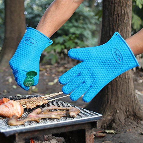 TTLIFE Guantes de Silicona,Manoplas para Ollas y Hornos,Resistente al Calor,Guantes Impermeables para Hornear Barbacoa BBQ Guantes Higiénicos de Cocina (Azul)