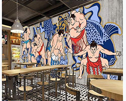 Apoart 3D Papel Pintado Mural De Cemento De Sumo Samurai