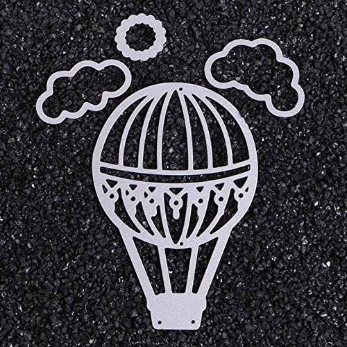 Ruiyiheng Precioso Aire Globo Corte Metal Troqueles y Juego de Sellos Transparentes para Bricolaje Álbum de Recortes Álbum de Fotos Decoración Textura Plantilla para Decoración Hogar - Imagen Color