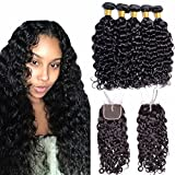Maxine Malaysian Water Wave Wet And Wavy Virgin Human Hair 3Bundles Weave with Closure 4x4 Middle Part Lace Closure with Baby Hair (18 18 18 with 16)