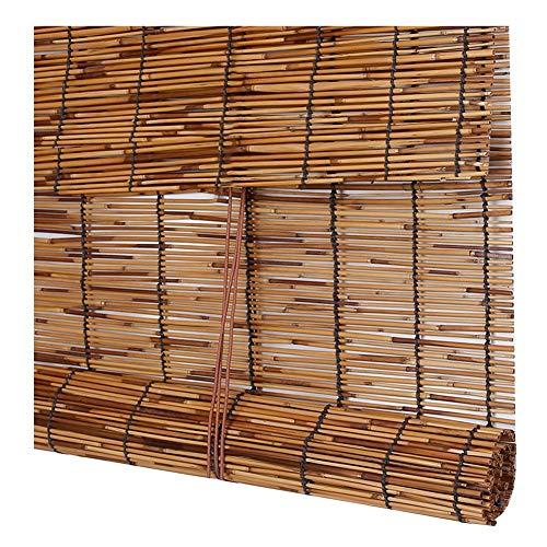 CHAXIA Bambus Rollo Bambusrollo Retro Schilf Stroh Vorhang Abgeschnitten Licht Abdecken Sonnenblende Balkon 3 Farben, Anpassbar (Farbe : A, größe : 120×180cm)