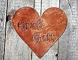 Rostikal Edelrost Herz mit Grüß Gott, Schild für Hauseingang Oder Türkranz