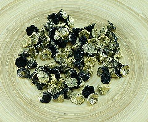 40pcs Jet Black Amber Gold die Hälfte Tschechische Glas Glocke, Blume Perlen-Caps 7mm x 5mm
