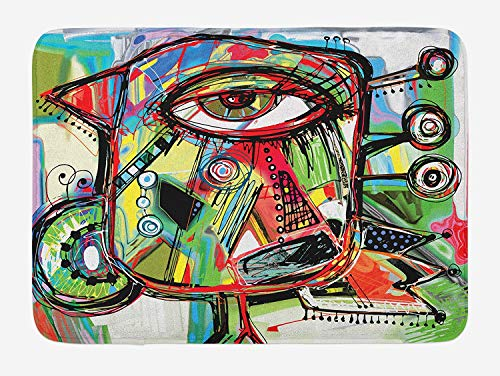 Casepillows Abstract Bath Mat, Doodle Bird Character Eyes Eyesight Goofy Portrait Unusual Retro Illustration, Plush Bathroom Decor Mat with Non Slip Backing, 23.6 x 15.7 Inches, Multicolor Goofy Gorilla
