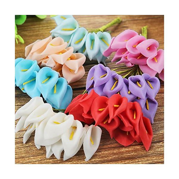 Gezichta – Ramo de lirios artificiales, 12 piezas de flores artificiales, 9 colores, 10 cm, látex, tacto real, flores…