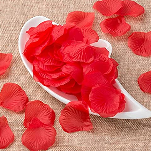 2000 P¨¦tales de Rose D¨¨coration Salon Pour Anniversaire Mariage Soie Fleur Mariage Rouge(red petals)