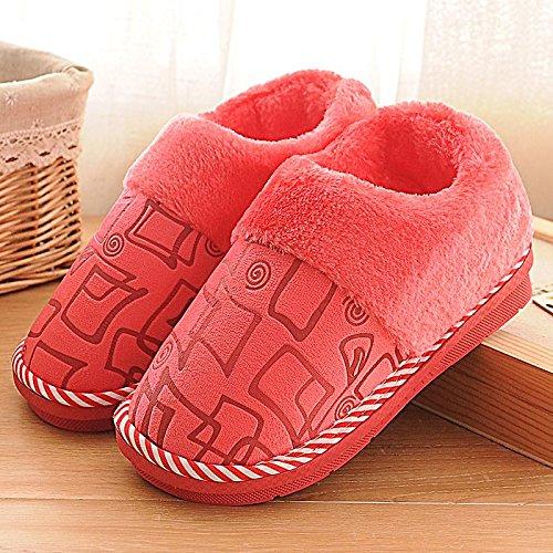 YMFIE Femmes Hommes hiver chaud accueil chaussures chaussons coton épaississement D