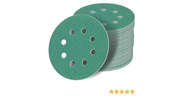8 Loch Haft Klett Schleifpapier 50 St/ück 125 mm Exzenter Schleifscheiben P360 K/örnung green Film