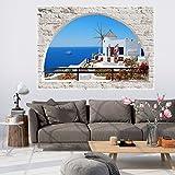 murando - 3D WANDILLUSION 140x100 cm Wandbild - Fototapete - Poster XXL - Fensterblick - Vlies Leinwand - Panorama Bilder - Dekoration - Mauer Ziegel Meer Strand Dünen