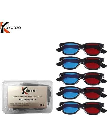 6238cae6e kakooze 5 Pair Adult Plastics Red/Blue 3D Glasses Anaglyph Glasses,Black