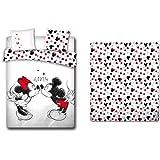 LesAccessoires Parure de lit 4 Pièces Mickey et Minnie Love 100% Coton - Housse de Couette 200x200 cm + Drap-Housse 140x200 c