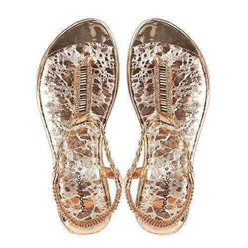 Ideal-Shoes Sandali piatti con flangia intrecciata Gloriana e strass Oro (Champagne)