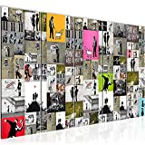 Bilder Collage Banksy Street Art Wandbild 150 x 60 cm Vlies - Leinwand Bild XXL Format Wandbilder Wohnzimmer Wohnung Deko Kunstdrucke Bunt 5 Teilig -100% MADE IN GERMANY - Fertig zum Aufhängen 302756a