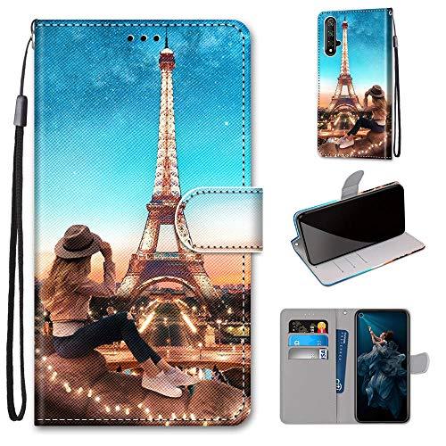 Miagon Flip PU Leder Schutzhülle für Huawei Honor 20,Bunt Muster Hülle Brieftasche Case Cover Ständer mit Kartenfächer Trageschlaufe,Turm Mädchen